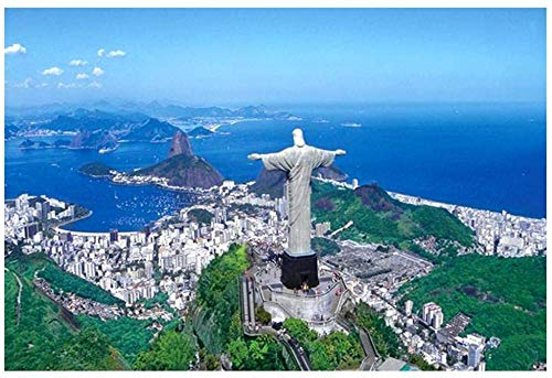 Mini 1000 Pezzi Puzzle per Adulti Statua di Gesù in Brasile Robusti Puzzle di Cartone Educativi Intellettuali Decomprimente Giocattolo Divertente Gioco per Famiglie Regalo per Bambini 38 * 26 cm