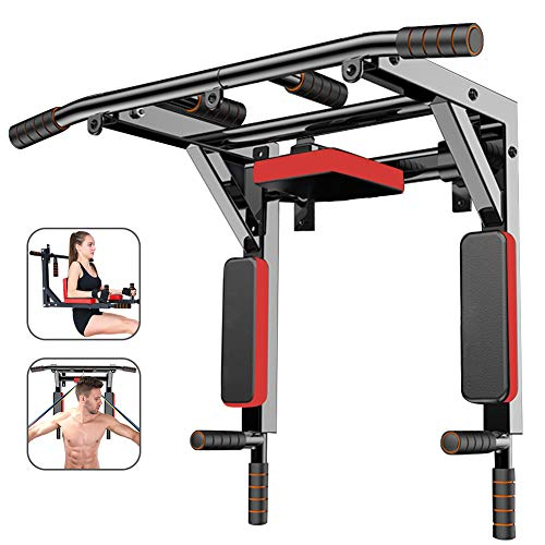 Slsy Multifunctional Wall Mounte Pull Up Bar and Dip Station, Wall Mounted Chin Up Bar for Home Gym, Supports to 600 Lbs