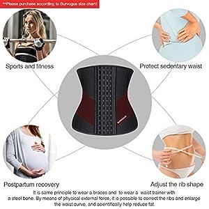 """Burvogue Waist Trainer for Weight Loss-Women Trimmer Slimmer Belt Latex Corset Cincher Body Shaper (Black Waist Belt & 9 Steel Bones, XS(Waist 25""""-27"""" ))"""