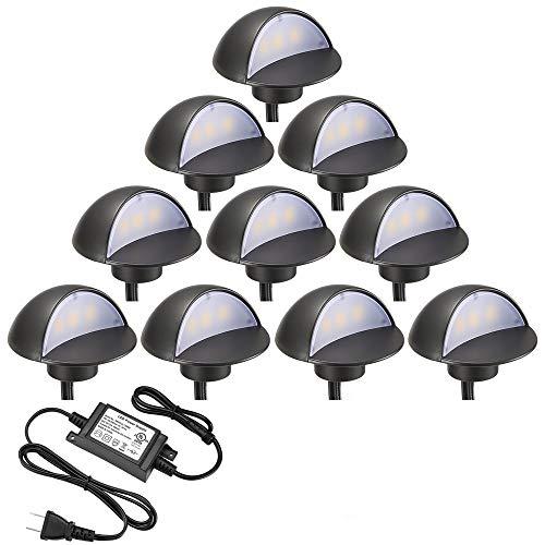 LED Deck Lights Kit, FVTLED Pack of 10 Low Voltage LED Step Stair Lights Φ1.97