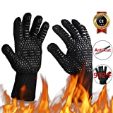 Oven Gloves 932°F Heat Resistant Gloves, Cut-Resistant Grill Gloves, Non-Slip Silicone BBQ Gloves, Kitchen Safe Cooking Gloves for Men, Oven Mitts,Smoker,Barbecue,Grilling(Black)