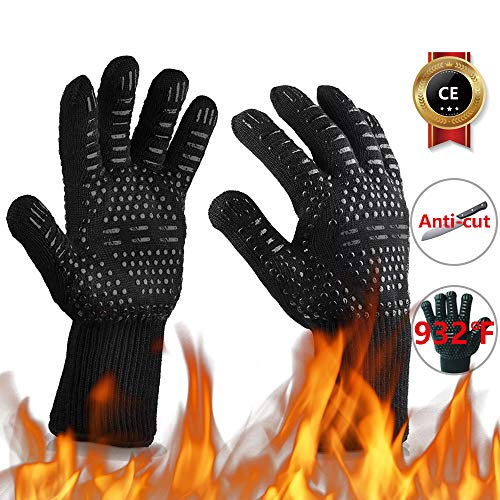 Oven Gloves 932°F Heat Resistant Gloves CutResistant Grill Gloves NonSlip Silicone BBQ Gloves Kitchen Safe Cooking Gloves for Men Oven MittsSmokerBarbecueGrillingBlack