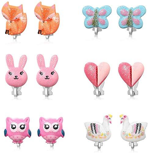 PowerKing Ohrclips für Mädchen, Mädchenschmuck-Anziehohrringe und Prinzessin Play Ohrclips für Kinder, 6 Paare (Schmetterling Ohrring)