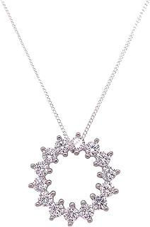 Bevilles Sterling Silver Cubic Zirconia Open Circle Necklace XX9203/XX1456 Pendant