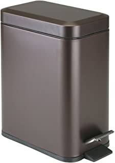 mDesign 1.3 Gallong Rectangular Small Steel Step Trash Can Wastebasket, Garbage Container Bin for Bathroom, Powder Room, Bedroom, Kitchen, Craft Room, Office - Removable Liner Bucket - Bronze