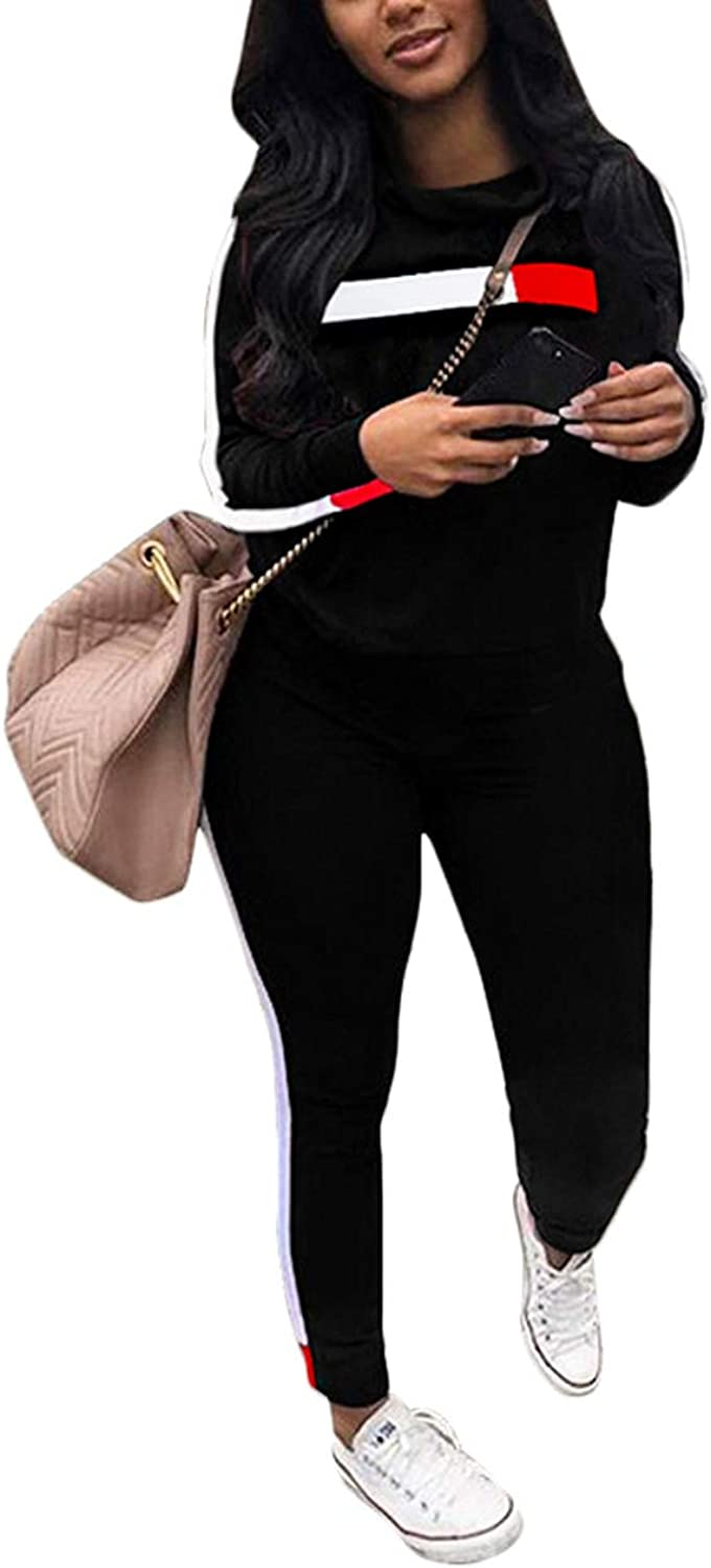 Akmipoem Women& 39;s Tracksuit Casual 2 Piece Outfit Striped Long Sleeve Sweatshirt and Pants Set