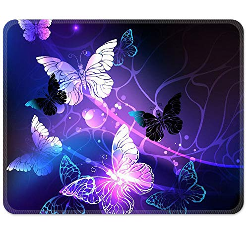Britimes Gaming Mouse Pad, Art Butterflies Square Mousepads Portable Non-Slip Rubber Base Office Decor Wireless Mouse Pad for Gaming, Working, Studying