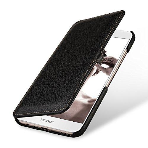 StilGut Leder-Hülle kompatibel mit Huawei Honor 8 Pro Book Type, schwarz mit Clip