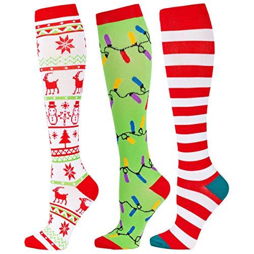 Christmas Compression Socks for Women 20-30 mmHg, Holiday Compression Socks for Nurses, Runner, Flight Travel and Prenancy