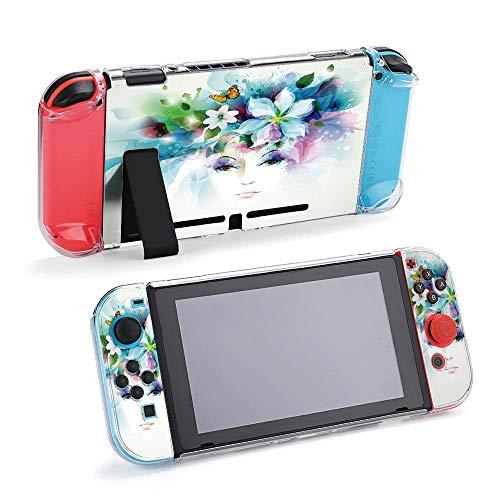 Beau visage de femme avec naturel compatible avec console Nintendo Switch et Joy-Con, coque de protection, durable, souple, absorption des chocs, anti-rayures et chutes, design37187
