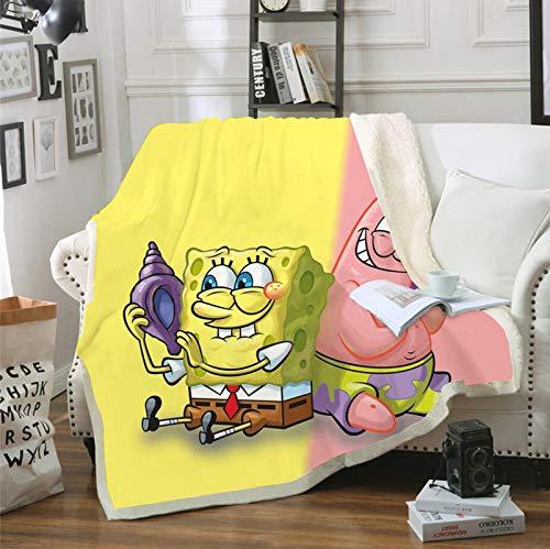 POMJK Spongebob Ultraweiche Micro-Fleece-Decke,3D Drucken warm Decken werfen Überwurf,für Erwachsene und Kinder,für Schlafzimmer Wohnzimmer Sofcouch (2,100×140CM)