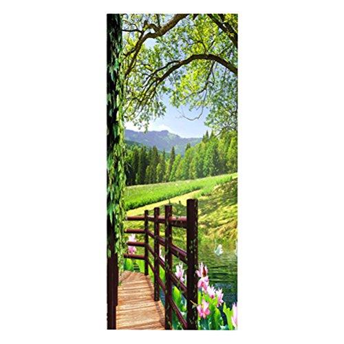 VOSAREA 3D Papier Peint Porte Autocollant Murales Adhésif Amovible Pont en Bois Art de Porte Décoration Maison