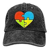 Gorra de béisbol Unisex Sombrero de Tela Vaquera Au.ti.SM Awareness Heart Gorra Ajustable con Visera Snapback-Negro