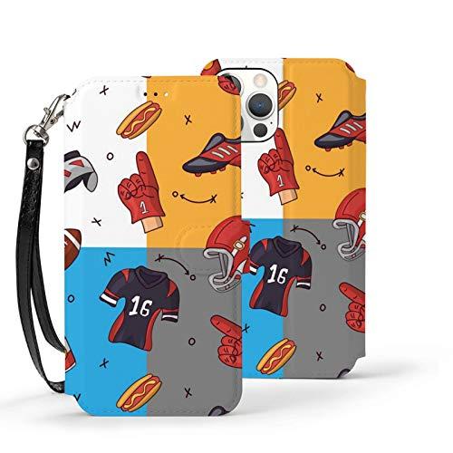 Ip12pro Max-6.7 Funda de cuero Flip Phone Wallet Cover a prueba de golpes Cartoon Rugby Patrón protector con ranura para tarjeta Kickstand