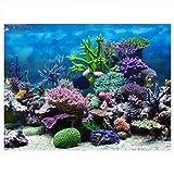 Póster de acuario engrosado, diseño autoadhesivo, hermoso póster para pecera, imagen HD fácil de limpiar, tienda de peces, hogar para peces(El 122 * 50cm, negro)