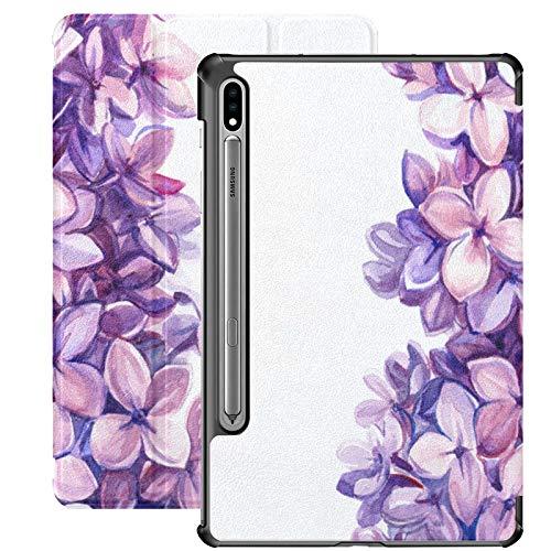 Funda Galaxy Tablet S7 Plus de 12,4 Pulgadas 2020 con Soporte para bolígrafo S, Funda Protectora Tipo Folio con Soporte Delgado de Flores Lilas pintadas a Mano para Samsung