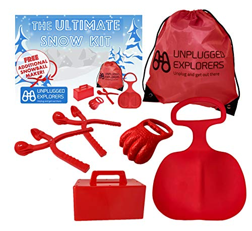 Unplugged Explorers 6 pc. Ultimate Snow Toys kit, winter sports- 1 Red Sled, Snow Brick Maker, Snow Digger & Snow Mold, 2 Snowball makers (1 Free) 1 oversized Winter Toys storage pack for outdoor toys