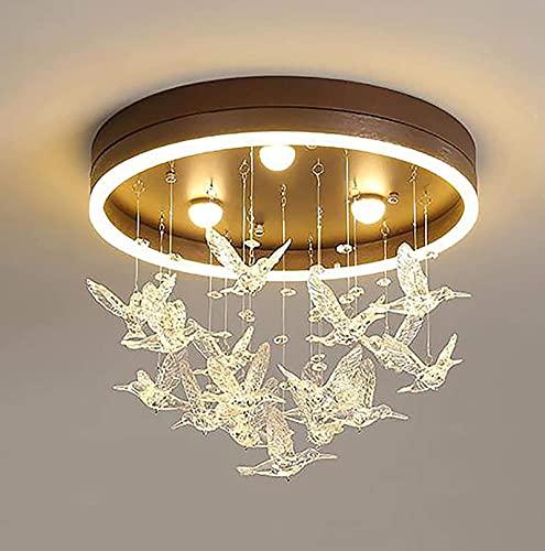 Moderna lámpara de techo LED colibrí empotrada redonda colgante colibrí dormitorio lámpara 2500-3200K cálida y romántica PrincessChandelier(ahorro de energía A++)