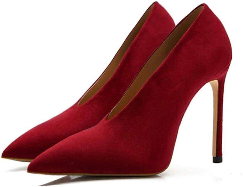 FUTER Pumps Damenschuhe High Heels Europische Und Amerikanische Mode V Port Spitz Party Dating Kleid Dünne Ferse 8 10 cm (Farbe   rot, Größe   8cm EU39 UK6 CN39)