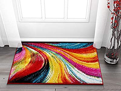 Well Woven Blooms Multi Color Geometric Brush Stroke Area Rug Shed Free Modern Abstract Contemporary Painting Art Thick Soft Plush Living Dining Children Room Playroom Nursery by Well Woven