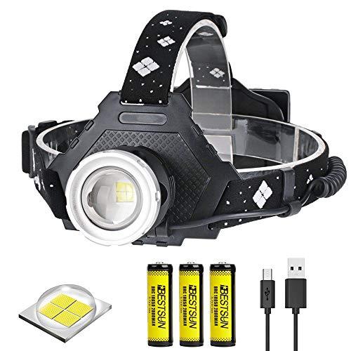 Linterna Frontal LED Recargable Potente XHP50 Luz Frontal Cabeza USB,LUXNOVAQ 6000 Lumen Zoom Linterna Cabeza Impermeable Headlamp Head Torch con 3 Baterías y 5 Modos para Trabajo Acampada Senderismo