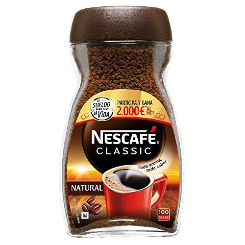 NESCAFÉ Café Classic Soluble Natural, Bote de cristal, Paquete de 6x200g de...
