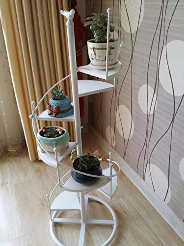 ,Hierro Forjado Y Madera Sólida Escalera De Caracol Multi-Nivel Marco De Flores,Sala De Estar Interiores Flor Carnosa Estante De Flor-b