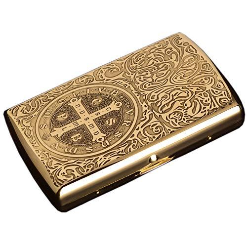 Zigarettenetui Gold Wasserdicht Und FeuchtigkeitsbestäNdig Und DruckbestäNdig Tragbare Zigarettenetui FüR MäNner Geschenk 8.5 * 5.5 * 1.7cm,Golden,Constantine