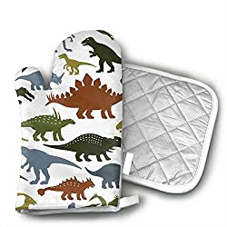 1. TUBIAZICOL Cute Dinosaur Pattern Oven Mitts and Pot Holder