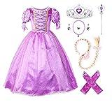 JerrisApparel Princesa Vestido de Fiesta niña de Disfraz Carnaval Morado (110cm, Morado con Accesorios)