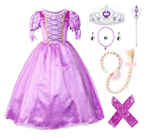 JerrisApparel Princesa Vestido de Fiesta niña de Disfraz Carnaval Morado (130cm, Morado con Accesorios)