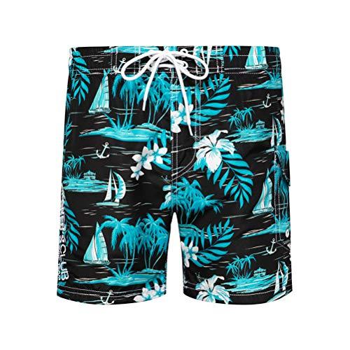 Whittie Island Print Beach Pants Pantalon Large Décontracté pour Hommes Pantalon De Plage à Séchage Rapide Shorts,03,L