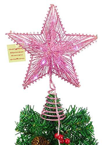 CHRISTMAS CONCEPTS® 10'Estrella elástica Rosa con Luces Blancas cálidas - Árbol de Navidad Estrella/Decoración...