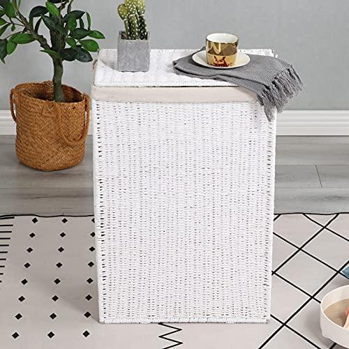 sogesfurniture BHEU-CXYM-LB-007 - Cesto para la ropa sucia con tapa, bolsillo interior extraíble, plegable, cesta de almacenamiento para sala de estar, dormitorio, BHEU-CXYM-LB-007