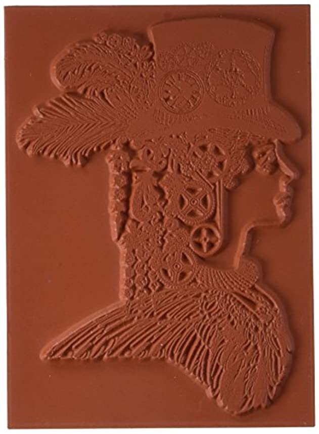 Deep Red Stamps Steampunk Lady Rubber Stamp