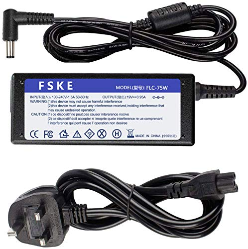 FSKE 75W 19V 3.95A Laptop Charger for Toshiba Satellite C850 C50 C55 C660 C660D C650D C850D L750 L300 L500 C650 AC Adapter, PA3917U-1ACA Notebook UK Power Supply, 5.5 * 2.5mm