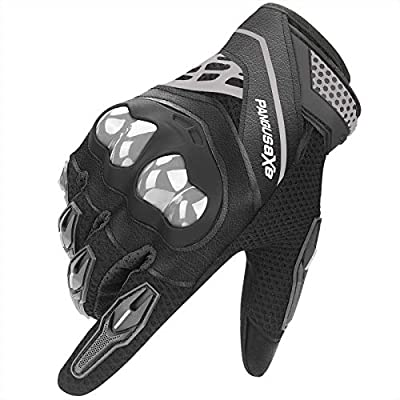 kemimoto Motorcycle Riding Summer Gloves Men Women, Moto Dirt Bike Touchscreen Motocross Bicycle Motorcycling Gloves Outdoor Driving ATV Off-Road Hard Knuckle Powersports Breathable Gloves (Black, M)