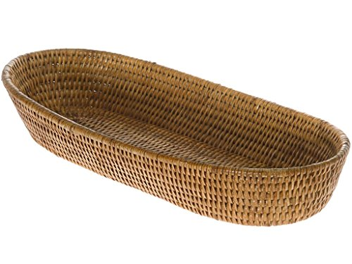 KOUBOO La Jolla Rattan Bread Basket, Honey Brown, Large