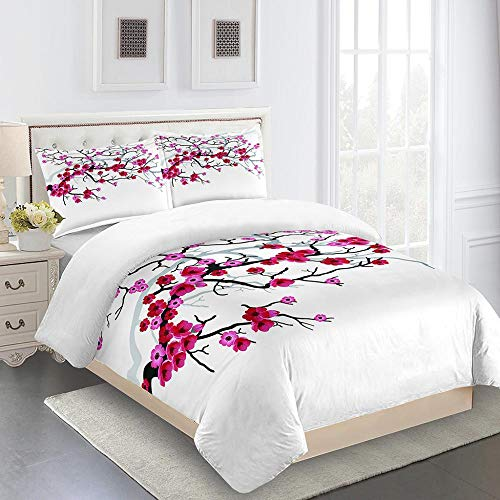 RYQRP Single Duvet Cover Set Plum Blossoms Printed Quilt Bedding Set with Zipper Closure in Polyester, 3pcs, 1 Quilt Cover 2 Pillowcases for Children Adults, 140x200cm