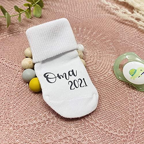 Schwangerschaft verkünden - Babysocke bedruckt - mit oder ohne Geschenkbox - Du wirst Oma Opa Tante Onkel 2021 oder 2022