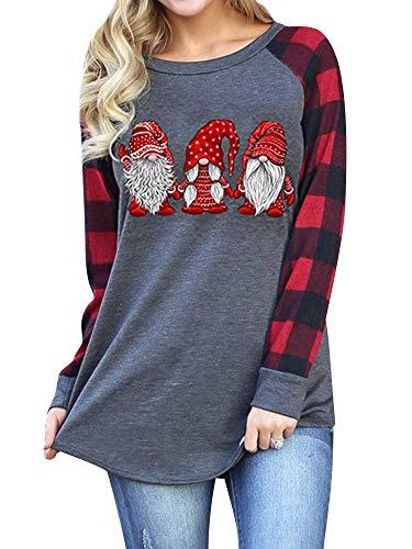 Christmas Plaid Shirt Women Funny Graphic T-Shirt Gnomes Tee Splicing Baseball Tops Holiday Clothes Dark Gray