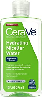 CeraVe Micellar 水新型改良* | 10 液体 Oz. | 保湿洁面乳和眼部卸妆液 透明质酸 | 不含香料,无刺激性