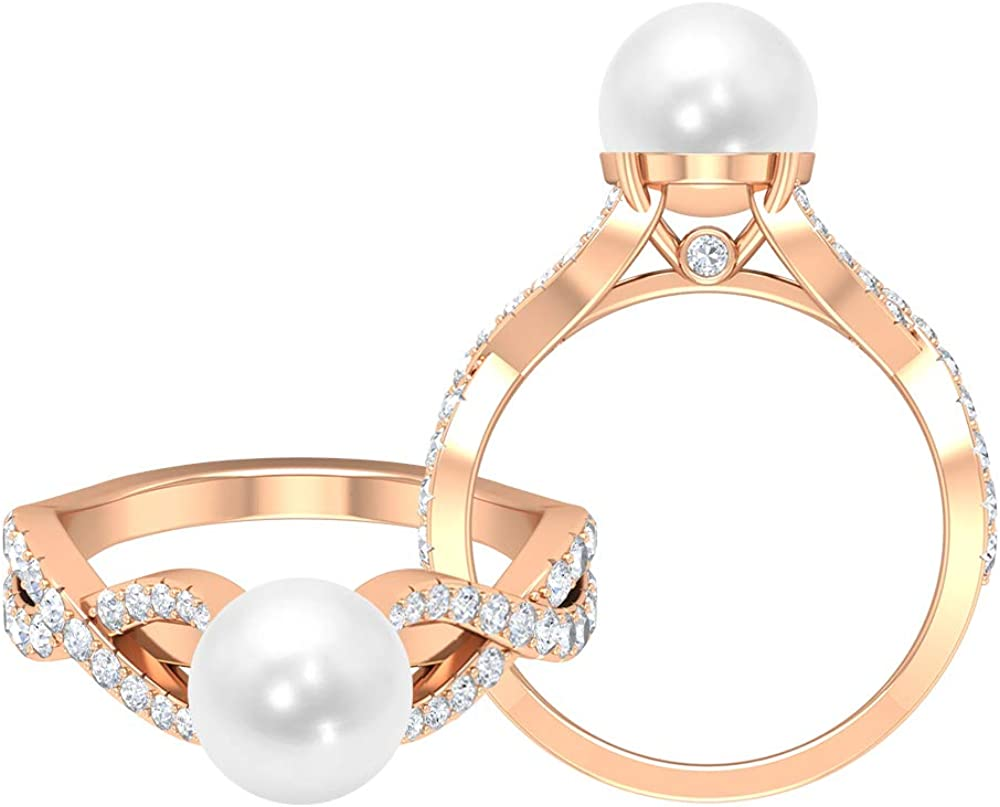 4 CT Freshwater Pearl Solitaire Ring, 3/4 CT D-VSSI Moissanite Engagement Ring, Gold Crossover Ring (8 MM Round Shaped Freshwater Pearl), 14K Gold