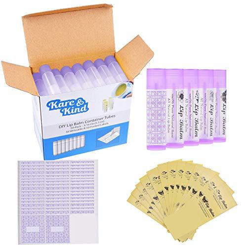 Tubos Contenedores de Bálsamo Labial – Paquete de 50x – DIY – Púrpura – 5.5 ml – 50 Etiquetas Para Escribir y 50 Impresas – Mecanismo de Torsión y una Tapa – Vacío – Haz Bálsamo Labial Natural