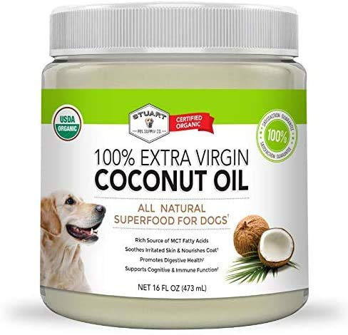 Stuart Pet Supply Co. Coconut Oil for Dogs (29oz) Certified Organic Extra Virgin Superfood Supplement | Anti Itch & Hot Spot Treatment | Dry Skin on Elbows & Nose | Natural Digestive Immune Support