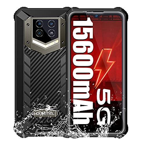 5G Rugged Smartphone OUKITEL WP15, Grande Batteria 15600 mAh Telefono Cellulare Antiurto, Android 11 8GB+128GB Telefono da lavoro, 48MP+8MP Fotocameras Display 6.52 HD+, IP68 69K Telefono Impermeabile