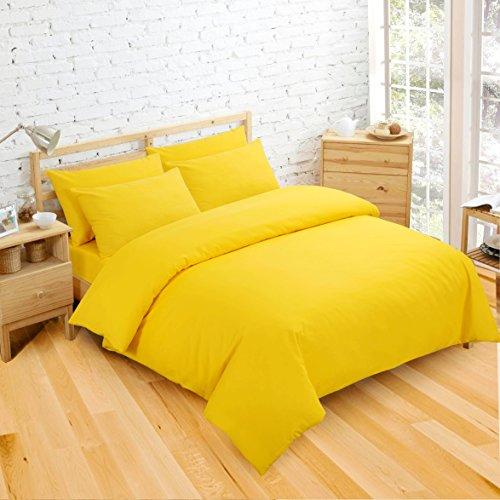 NON IRON Easycare Plain Dyed King Duvet Cover & 2 Pillow Cases Bed Set (Yellow)