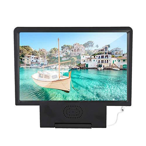 Lupa de pantalla, lupa de pantalla HD de video para teléfono móvil con altavoz, lente Fresnel óptica astigmática para proteger los ojos, para todo tipo de teléfonos móviles (negro)