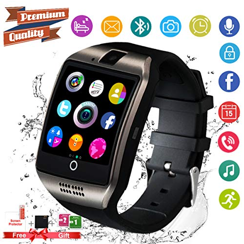 Amokeoo Smart Watch,Android Smartwatch Touch Screen Bluetooth Smart Watch Waterproof Wrist Phone Watch with SIM Card Slot & Camera,Sports Fitness Tracker Watch for Android iOS Phones Men Women Black