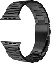 Dsytom Compatible with Apple Watch Band 44mm/42mm, XL Large Metal Replacement Strap Compatible Apple Watch Series 5/4/3/2/1 Smartwatch(Black)